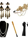 The Great Gatsby Vintage 1920s The Great Gatsby Roaring 20s Costume Women\'s Gloves Headpiece Flapper Headband Head Jewelry Earrings Black+Sliver / Golden+Black / Red+Golden Vintage Cosplay