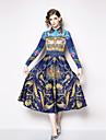 A-Linie Quadratischer Ausschnitt Knoechel-Laenge Jersey Vintage Inspirationen Formeller Abend Kleid mit Muster / Druck durch LAN TING Express