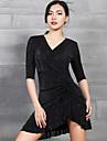Latein-Tanz Kleider Damen Leistung Elasthan Glitzer / Horizontal geruescht Halbe AErmel Kleid