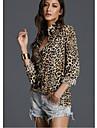 Mulheres Camisa Social Moda de Rua Patchwork, Leopardo Colarinho de Camisa Arco-iris M