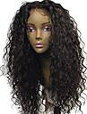Ljudska kosa Lace Front Perika Slobodni dio stil Brazilska kosa Kovrčav Crna Perika 130% Gustoća kose s dječjom kosom Prirodna linija za kosu Za crnkinje 100% Djevica 100% rađeno rukom Crna Žene Dug