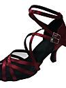 Kadın\'s Saten Latin Dans Ayakkabıları Topuklular İnce Topuk Koyu Kırmızı / Deri / Egzersiz