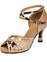 בגדי ריקוד נשים נעליים לטיניות / נעלי סלסה דמוי עור סנדלים אבזם עקב רחב מותאם אישית נעלי ריקוד כסף / מוזהב / סגול / בגדי ריקוד ילדים / בבית / אימון / מקצועי / EU41