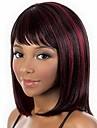 Synteettiset peruukit / Otsatukat Kinky Straight Tyyli Bob-leikkaus Suojuksettomat Peruukki Burgundi Musta / Burgundy Synteettiset hiukset 14 inch Naisten Muodikas malli / Pehmeä / Klassinen Burgundi