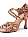 Kadın\'s Suni Deri Latin Dans Ayakkabıları Taşlı Topuklular Kıvrımlı Topuk Kişiselleştirilmiş Siyah / Kahverengi / Performans / Egzersiz