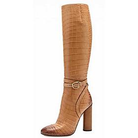 Mujer Zapatos Semicuero Invierno Tacón Cuadrado 30.48-35.56 cm / Hasta la Rodilla Con Cordón Negro / Amarillo gc1Ne8