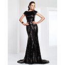 Mermaid / Trumpet Bateau Neck Sweep / Brush Train Sequined Formal Evening / Military Ball Dress with Sequin by TS Couture®