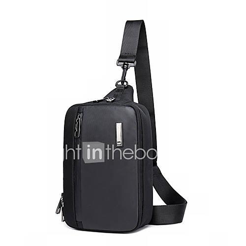 ecb3c9c3916 Heren Tassen Oxfordstof Sling Shoulder Bag Rits Zwart huismerk kopen in de  aanbieding
