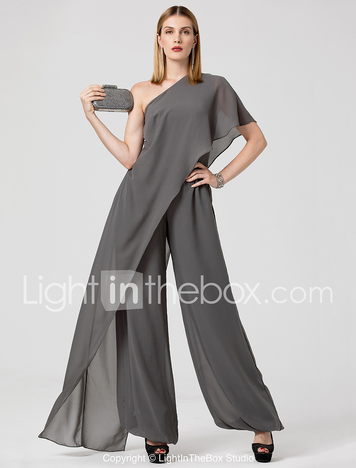 Marchesa Style Jumpsuit One Shoulder Floor Length Chiffon Formal Evening  Dress with Draping by TS Couture® c41b27fc7