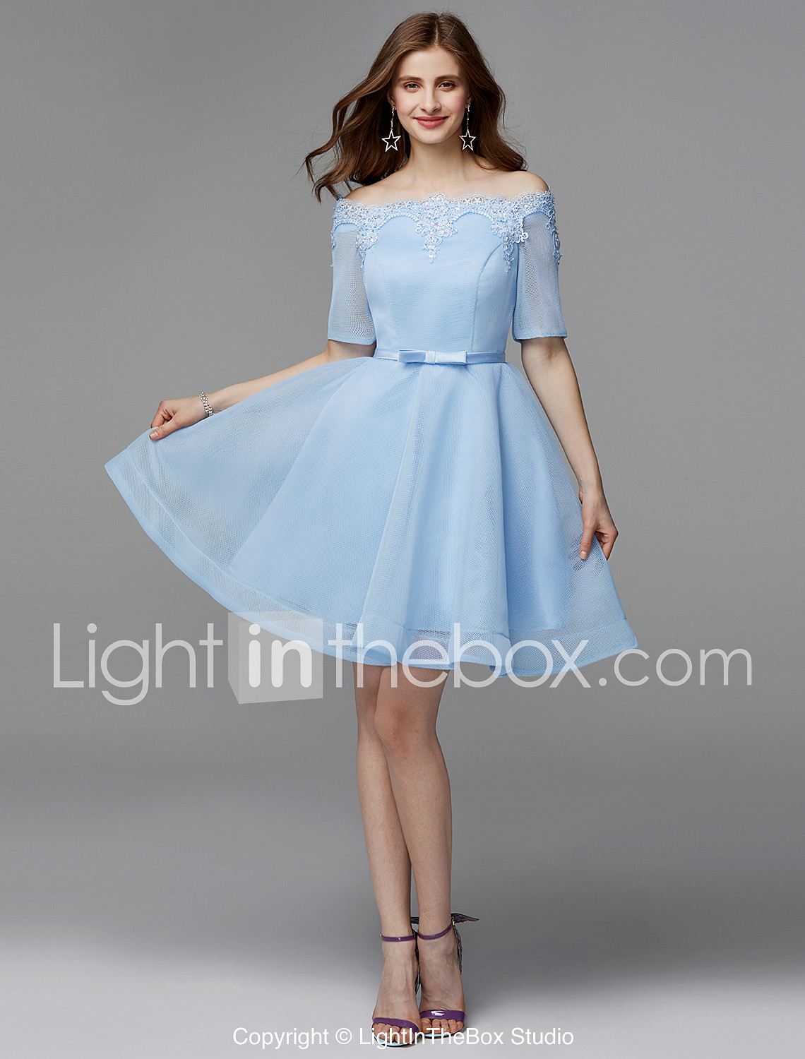 c956825341 A-Line Off Shoulder Short / Mini Lace / Satin Lace Up Prom Dress with