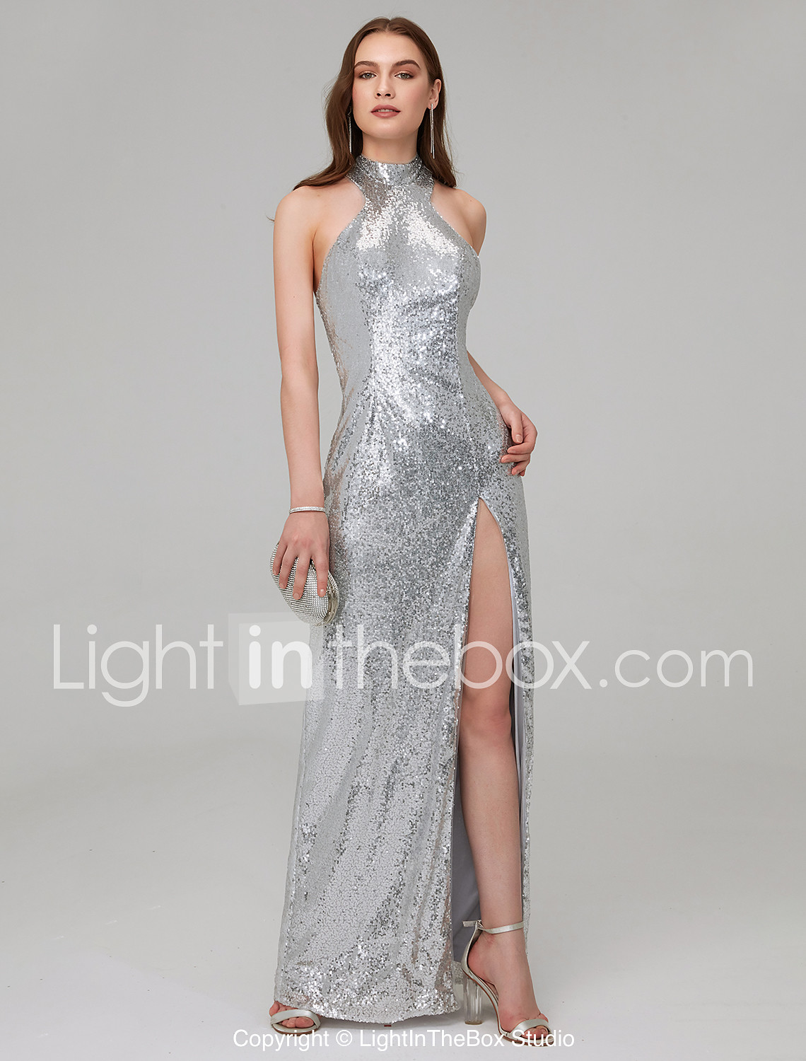 dd56f47b078 Brie Larson Sheath   Column High Neck Floor Length Sequined Celebrity Style Formal  Evening Dress with Sequin   Split Front by TS Couture® 7142076 2019 – ...